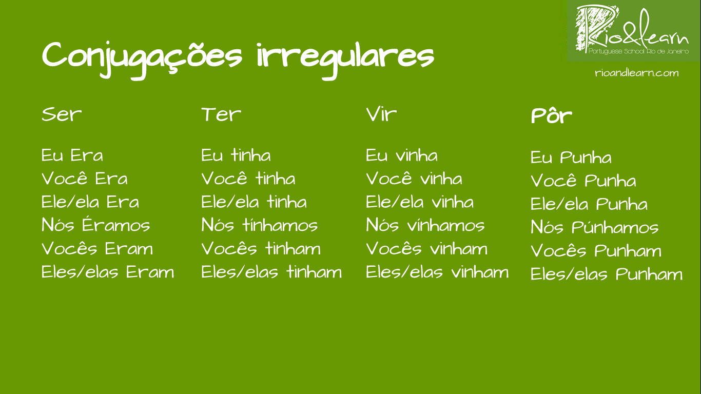 Portuguese Imperfect Irregular Verbs A Dica Do Dia
