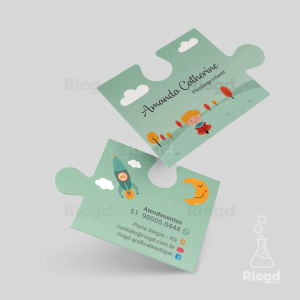 Cartão de Visita Psicologia Quebra Cabeça Sonhador