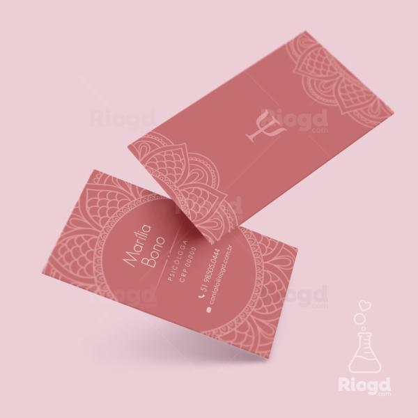 Cartão de Visita Psicologia Rosé