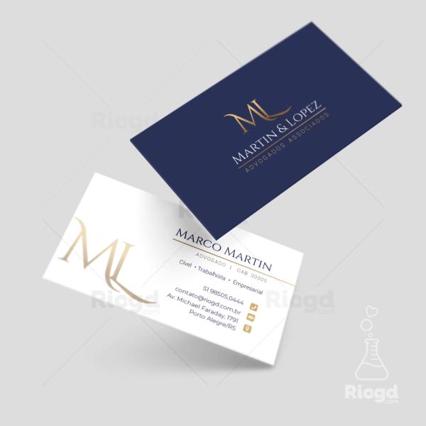 Cartão de Visita Advocacia Golden Blue