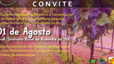 Foto de Convite COMTUR – Conselho Municipal – 01/08/2019