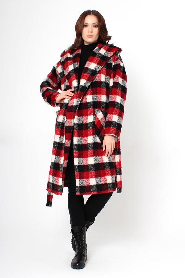 Пальто клетчатое красное