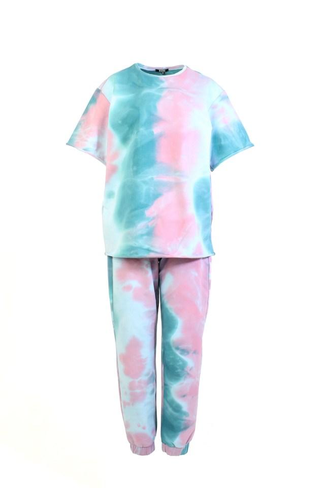 костюм тай-дай с джоггерами розово-голубой