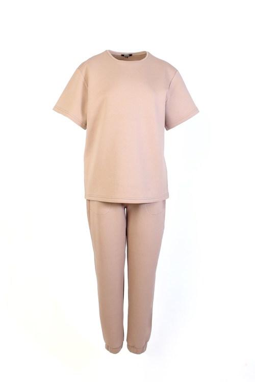 костюм из футера бежевый