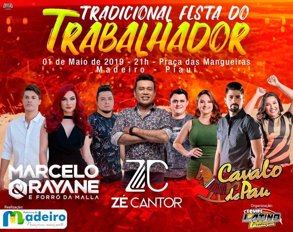 PREFEITURA DE MADEIRO- PI ANUNCIA A PROGRAMAÇÃO DA FESTA DO TRABALHADOR