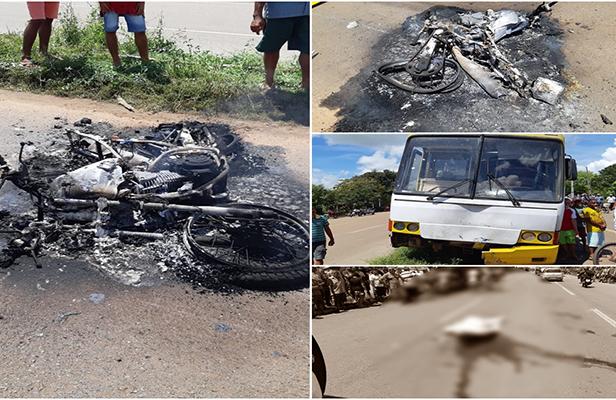 Motociclista morre após colisão frontal com ônibus que trafegava na contramão no Maranhão