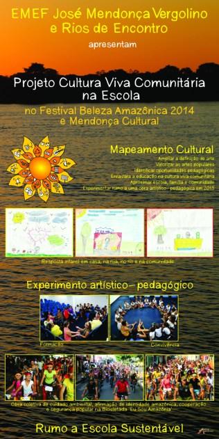Banner sobre a sistematização do Mapeamento Cultural exposto no Festival Beleza Amazônica / Mendonça Cultural 2014