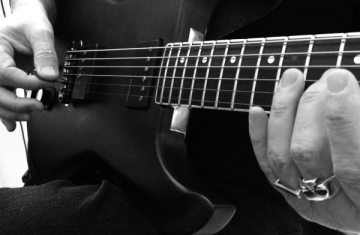 Baritone Guitar Washes Studio Session - Guitar Closeup