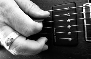 Baritone Guitar Washes Studio Session - Picking Closeup