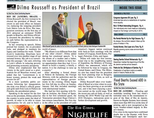Front page of the first issue of The Rio Times Print edition.