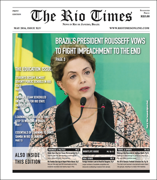 Front page of the May 2016 issue of The Rio Times Print edition.