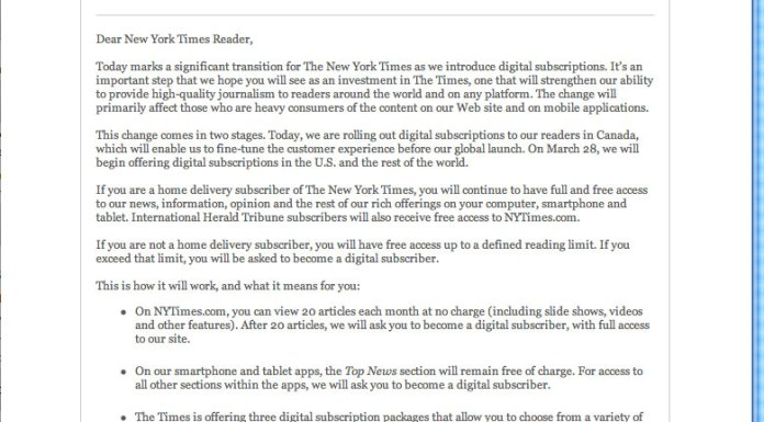 New York Times email sent on March 18th, 2011