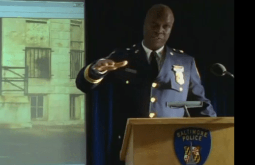 Major Colvin announcing at Comstat that he practically legalized drugs in his district, The Wire Season Three