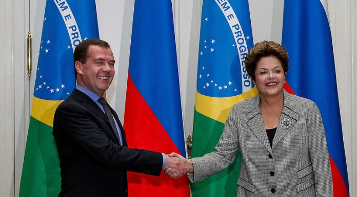 Dilma Rousseff with Dmitri Medvedev, Brazil News, Rio de Janeiro, Brazil, Brazilian Exports, Brazilian Exports to Russia, Russian Response to Sanctions, Russia's prime minister, Dmitry Medvedev, Minister of Agriculture Neri Geller