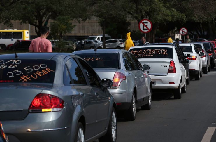 Uber motorists protest outside Congress in Brasilia