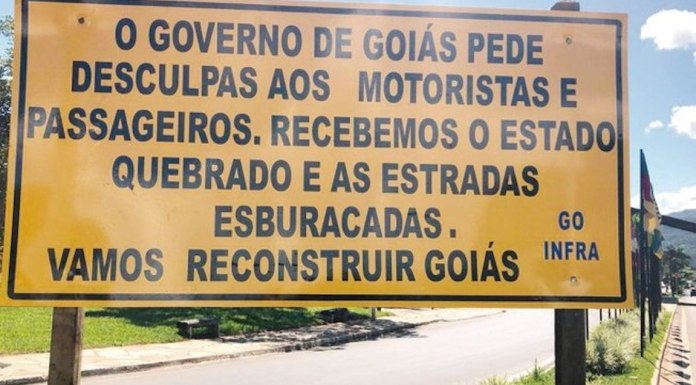Brazil, Goias,Goias state government places giant billboards across the state's highways apologizing to motorists.