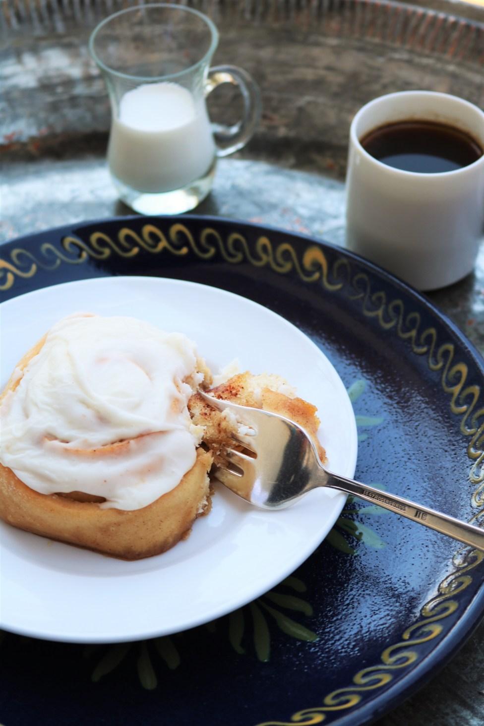 Cinnamon roll and espresso