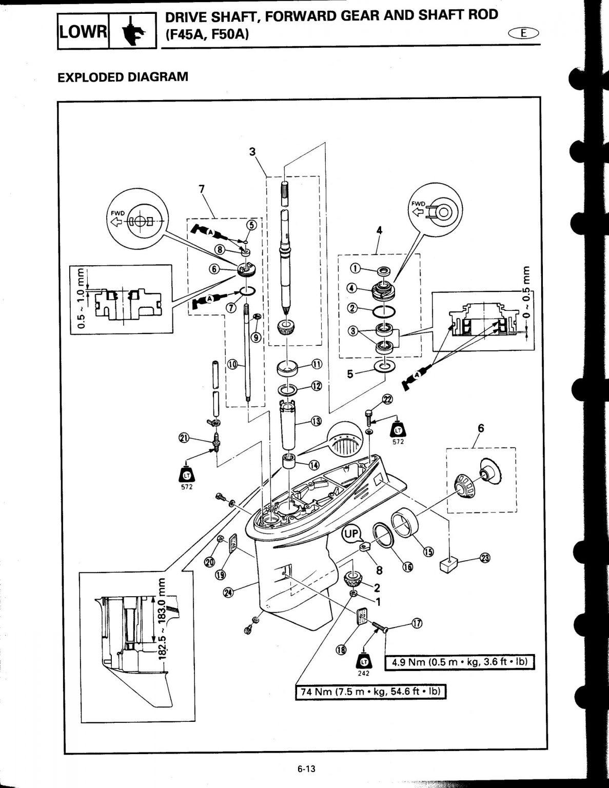 Used 1998 Yamaha Outboard Service Manual F50W & T50W LIT