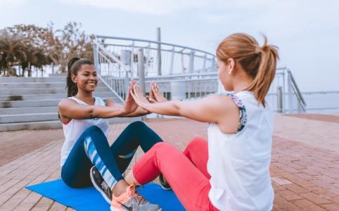 two women, exercise