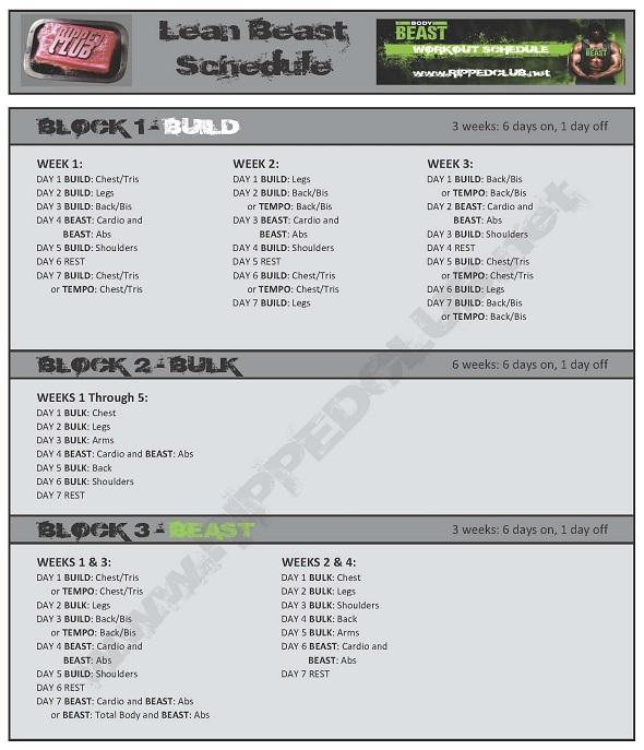body beast workout schedule lean beast