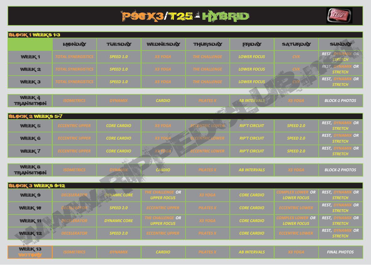 P90x3 Workout Schedule Mass