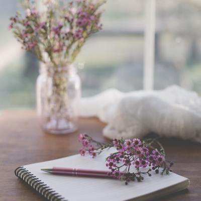 Lavender and notebook social distancing