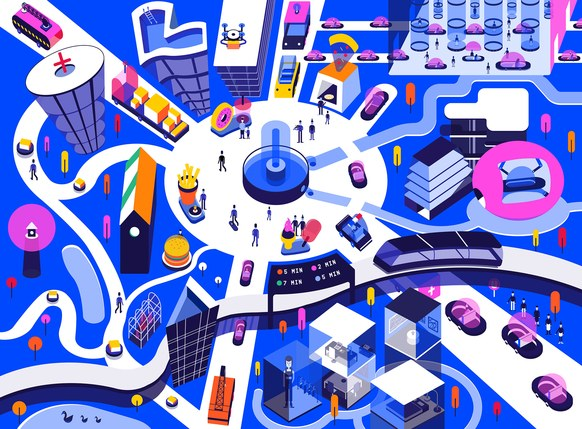 Purple, pink, blue, orange and white illustration of a future city with a central node and spokes with cars coming off it.