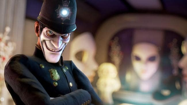 We Happy Few game character dressed as a police officer with light in hat and arms folded across chest wearing an evil smiling expression