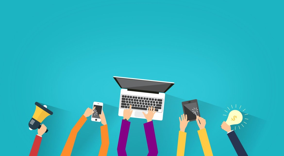 illustration with hands using devices - a mobile phone, a laptop, an ipad