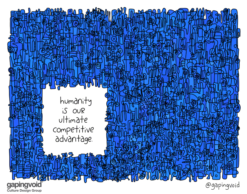 abstract drawing with the words humanity is our ultimate competitive advantage