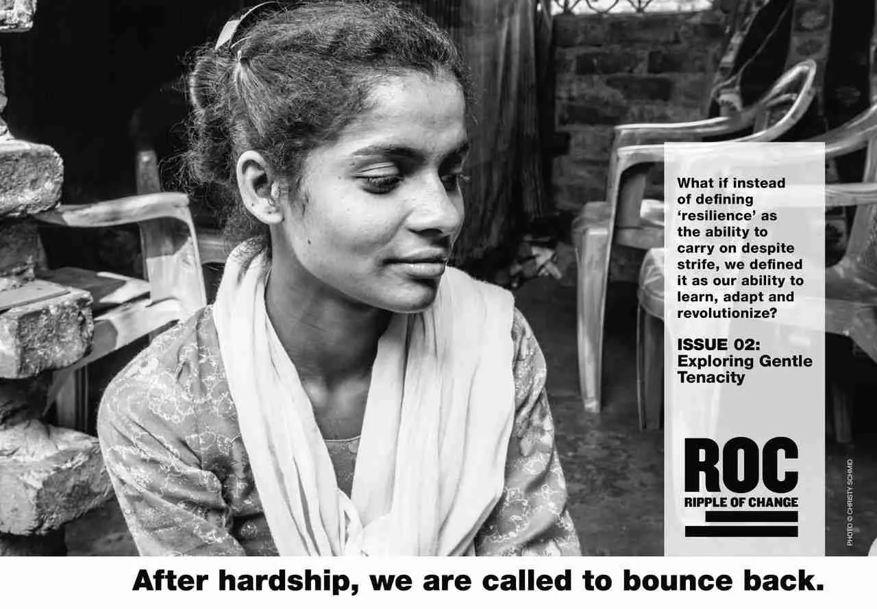 Photo of an Indian woman in black and white, looking off to the side – Issue 02 - Exploring Gentle Tenacity