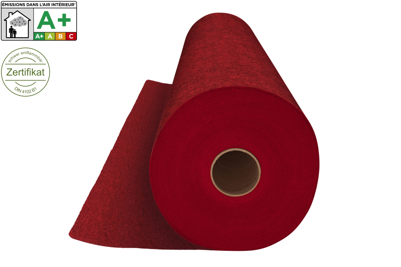 Roter Rips Teppich Messeteppichboden Rips B1 Nr 09 Dunkelrot Roter