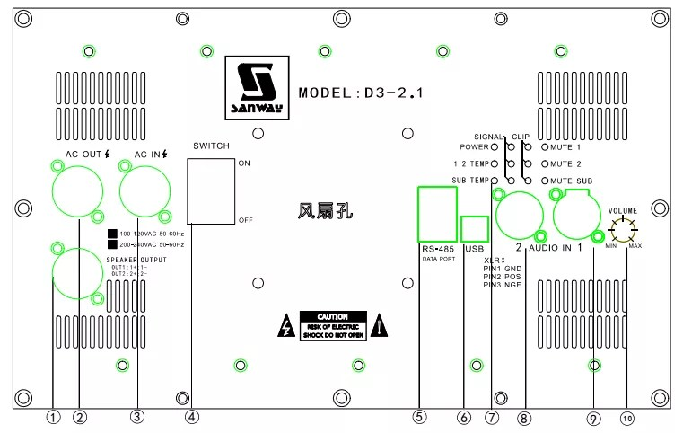 D3-2.1 Stereo Plate Amplifier with DSP for 2.1 channel