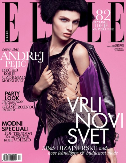 Andrej Pejic on the January 2013 Serbian Elle cover.