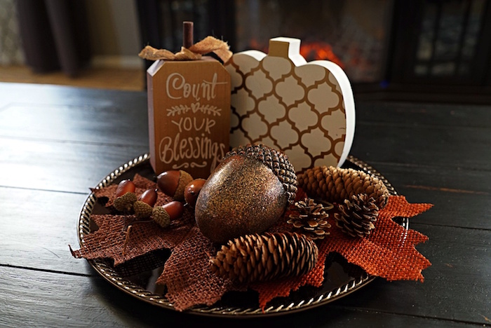 fall decor plate with pumpkin and count your blessings