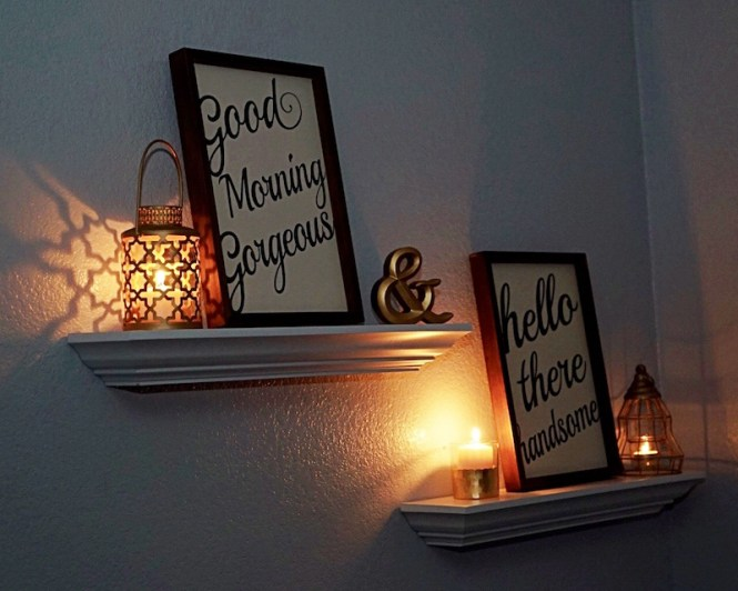 Floating Shelves with Candles and Decor