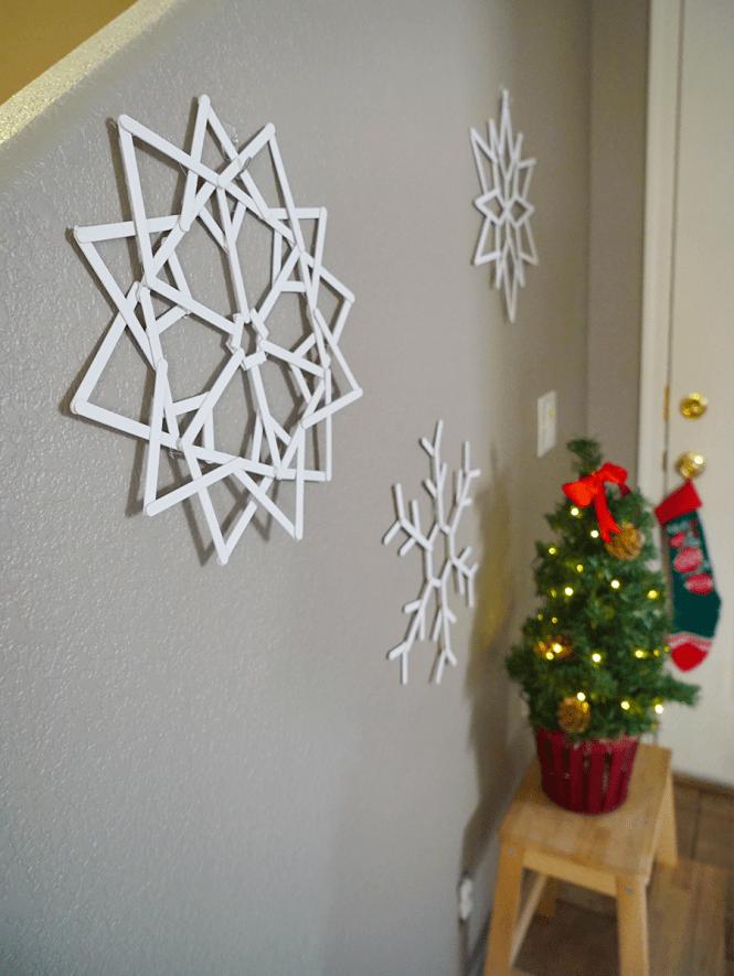 DIY Popsicle Snowflake - Side angle