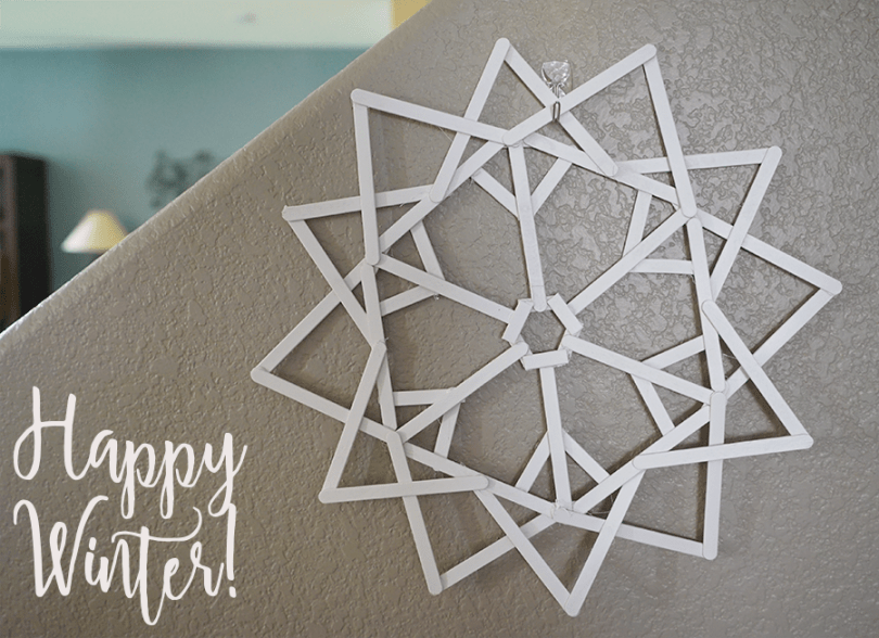DIY Popsicle Snowflake on the wall