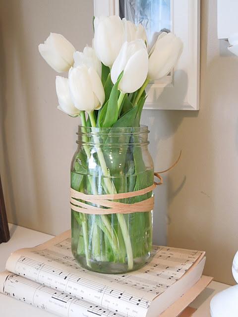 spring decor - white tulips
