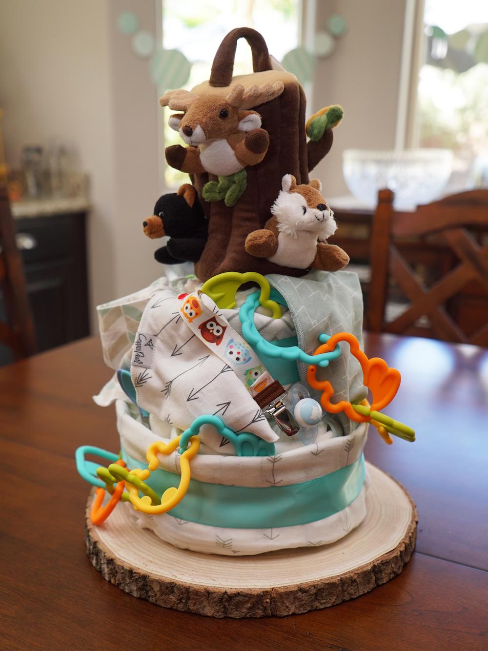 adventure-themed baby shower diaper cake