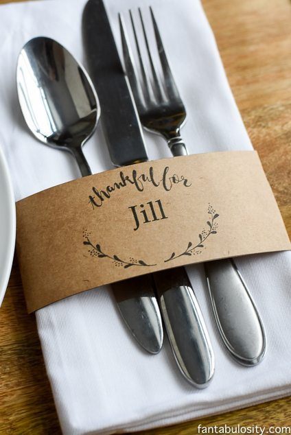 Thanksgiving Table Ideas - brown paper napkin ring