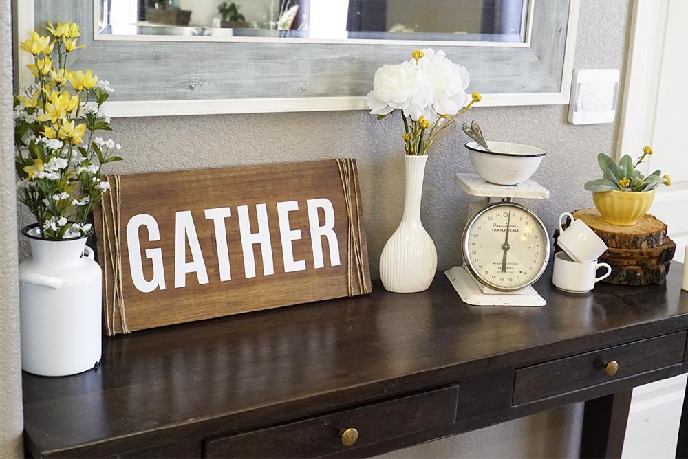 spring decor - buffet table