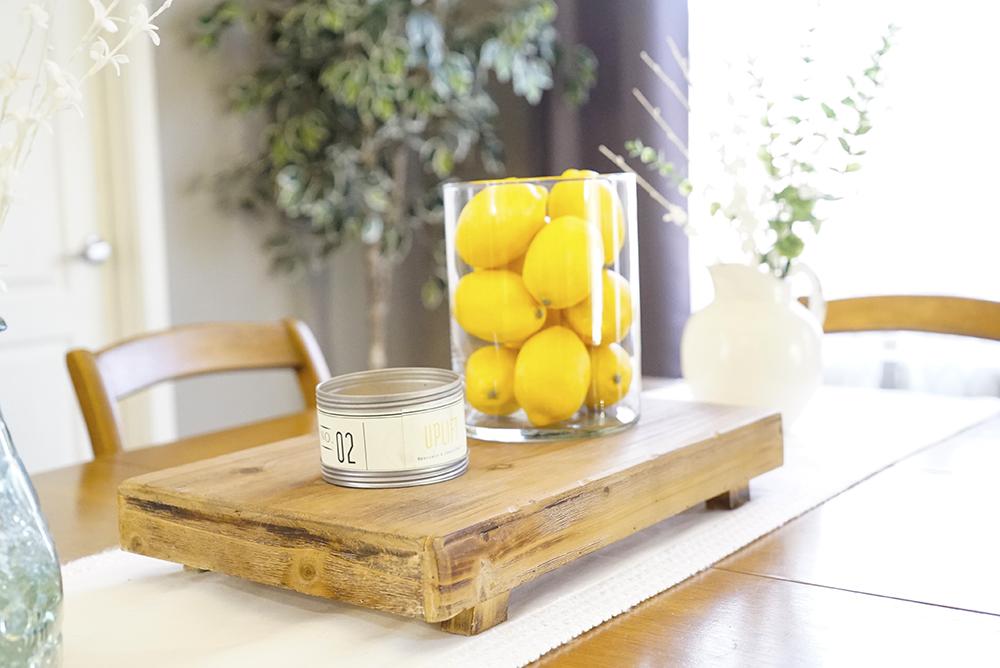 spring decor - kitchen table butcher block lemons