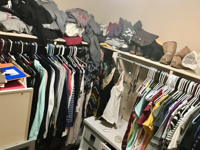 how to clean your closet - before