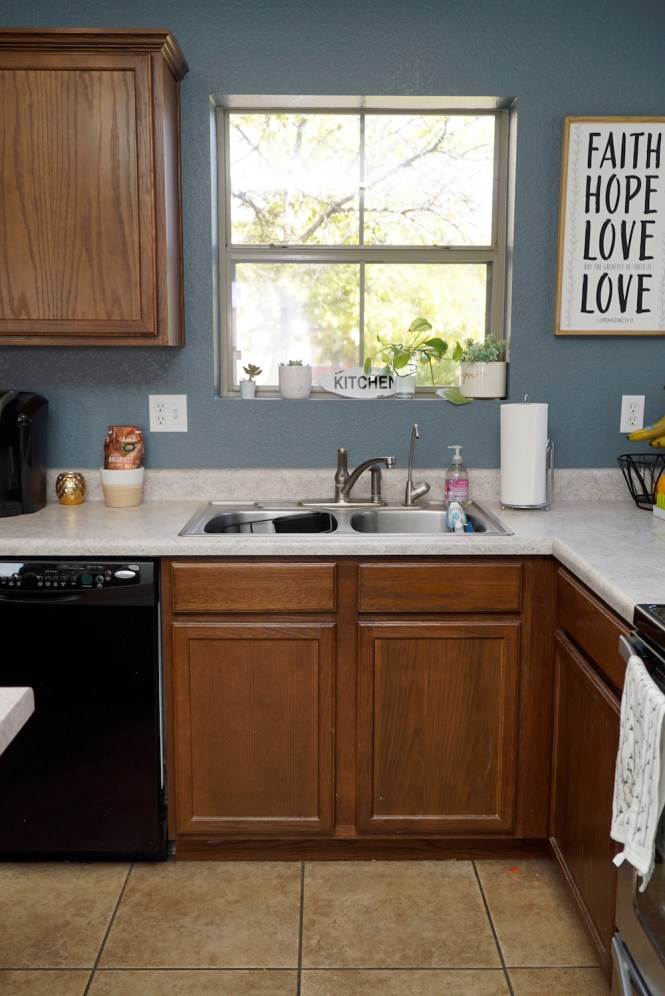 how to paint kitchen cabinets white - before sink area