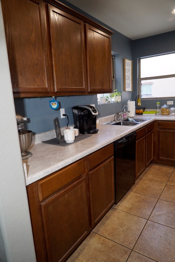 how to paint kitchen cabinets white - before side wall