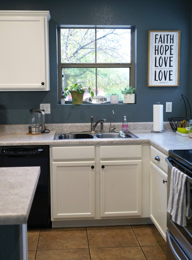 how to paint kitchen cabinets white - after sink area