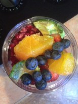 blueberries, pomegranates, oranges, strawberries, avacado, lettuce, carrots
