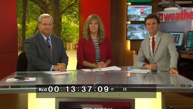 Megginson during a light moment on set of WVUA-TV.