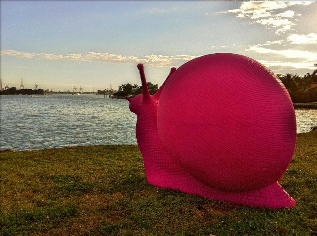 A pink snail looks across Biscayne Bay for Art Basel in 2010. Photo Credit: Ines Hegedus-Garcia/Flickr (CC By 2.0)